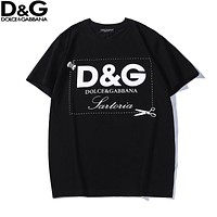 Dolce & Gabbana New fashion letter print couple top t-shirt Black
