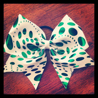 White with Green Foil Dot Cheer Bow by FlippinBows on Etsy