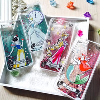 LIMITED EDITION Disney Princess Liquid Glitter Phone Case For Iphone 5 5s 6 6S 6Plus