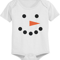 Cute Snowman Face Baby Bodysuit - Pre-Shrunk Cotton Snap-On Style Baby Onesuit