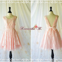 A Party V Shape -  Cocktail Dress Wedding Bridesmaid Dress Party Prom Dress Backless Dress Cream Pale Pink Roses Lace Dresses XS-XL