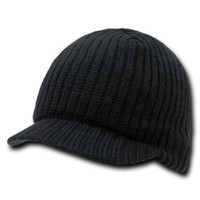 Black Solid Campus Jeep Cap Visor Beanie Ski Cap Caps Hat Hats Toque