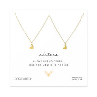 one for you one for me sisters heart necklaces, gold dipped - Dogeared