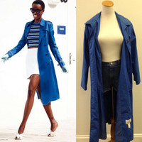 Blue all weather trench coat (S/M)