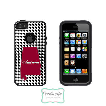 Otterbox Commuter Apple iPhone 5 5s Personalized Cell Phone Hard Case Alabama State Houndstooth Crimson Roll Tide Football Tailgate OB-1021