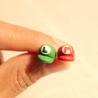 Super Mario and Luigi Hat Polymer Clay Earrings