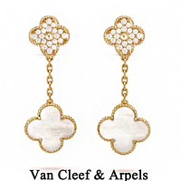 Van Cleef & Arpels 925 Silvery Classic Fashion Women Delicate Diamond Earrings Accessories Jewelry