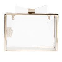 The Sweetest Box Clutch in Clear & Gold