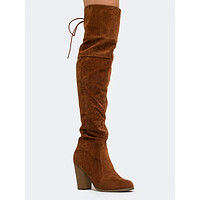 BACK LACED THIGH HIGH BOOT