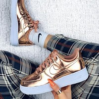 NIKE Air Force 1 Low Metal Color Popular Women Men Sport Running Shoes Sneakers Rose Golden