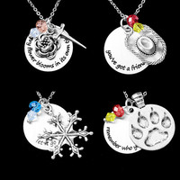 Characters Necklace with quotes Mulan Toy Story Elsa The Lion King