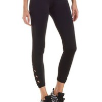 Black Active Leggings with Ankle Cut-Outs by Charlotte Russe