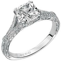 """Artcarved """"Angelina"""" Split Shank Diamond Engagement Ring Featuring Engraved Band"""