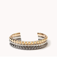FOREVER 21 Pyramid Studded Cuff Set Gold/Silver One