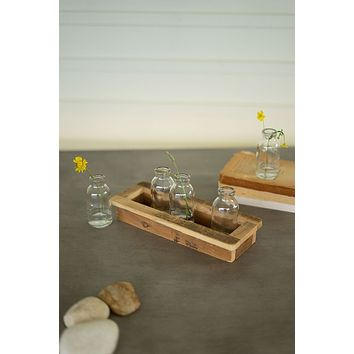 Five Glass Bud Vases With Recycled Wood Base - Set of 4