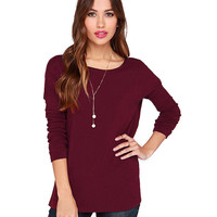 Round Neck Cutout Back Long Sleeves  T-shirt