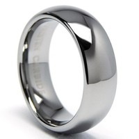 7MM Classic Dome Men's Tungsten Carbide Ring Wedding Band sizes 5 to 15
