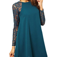 Floral Lace Long Sleeve Cut-Out Chiffon Dress