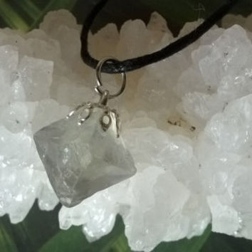Rainbow Fluorite Octahedron Necklace Crystal pendant Octahedral necklace Natural 8 side cleavage gemstone handmade pyramid point necklace