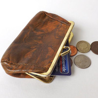 Vintage Leather Coin Purse, Coin Pouch, British Money Holder, Ladies Retro Fashion Accessory