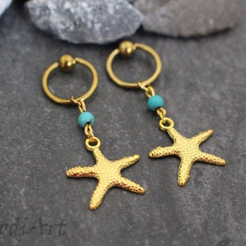 Starfish Captive Bead Hoops