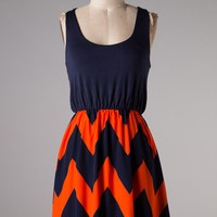GAME DAY DRESS - NAVY & ORANGE