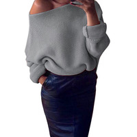 Online Shop Fashion Women Crew Neck Off Shoulder Chunky Knitted Oversize Baggy Sweater Batwing Sleeve Tops Autumn Winter Lady Pullover Oct11 | Aliexpress Mobile