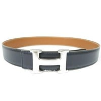Authentic HERMES H Logo Belt Silver-tone Black Leather Vintage r1503