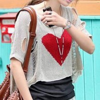 Hearts Hole Sweater Top