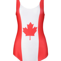 Color Block Canadian Flag Print Low Back Swimsuit