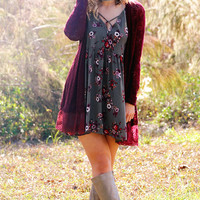 Hello Fall Cardigan: Burgundy