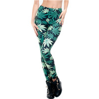 Fashion 3D print Women Leggings Knitted Causal Tayt Fitness Leggins Calzas Mujer Green Weed Girl