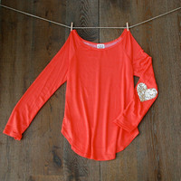 Sequin Heart Elbow Patch Slouchy Pullover - French Terry Coral T Shirt with Gold Sequin Elbow Patches