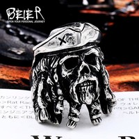 BEIER Drop Ship Punk 316L Stainless Steel Pirate Captain Ring Bad Ass Mens Jewelry Fashion Man Bandit ghost Ring BR8-548