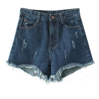 Dark Blue Cut Out Denim Shorts