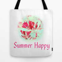 pretty pink summer flowers, summer happy floral photo art. Tote Bag by NatureMatters