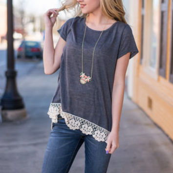 Lace You To The Finish Top, Charcoal