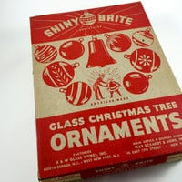 Vintage Shiny Brite Ornaments Box Only Christmas Gift Box Christmas Storage Box Christmas Ornament Storage Christmas Ephemera Paper Box
