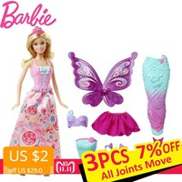 Barbie Original Brand Mermaid Dress Up Doll Feature Mermaid Barbie Doll The Girl A Birthday Present Girl Toys Gift Boneca DHC39