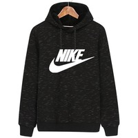 NIKE autumn and winter new hooded plus velvet sports and leisure pullover sweater black
