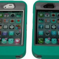Iphone 4 4s Body Armor Defender Case Teal on Gray Comparable to Otterbox Defender + Cool Colors Earbuds and Stylus