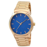 Rose Gold Watch with rose gold indexes in blue face with metal band
