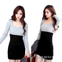 Fashion Women Long Sleeve Sweater Dresses Bodycon Pencil Party Casual Vestidos Knitwear Autumn Winter Clothing Mini Dress 1354