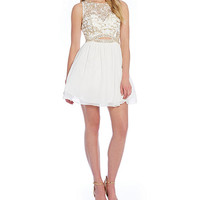 B. Darlin Illusion Beaded Bodice Cut Out Party Dress | Dillards