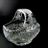 Mid Century Starburst Hand Cut Clear Crystal Basket Bowl Made in West Germany Hostess Gift Seasonal Flowers Floating Candles Centerpiece