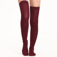 leaf pile over the knee socks in wine at ShopRuche.com, Vintage Inspired Clothing, Affordable Clothes, Eco friendly Fashion