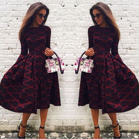 Womens Floral Print Pleated Plaid Fit and Flare Long Sleeve Cotton Blend Party Midi Dress