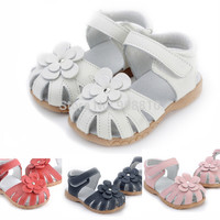 new genuine leather girls sandals in summer walker shoes with flowers antislip sole kids toddler magazine sandal 12.3-18.3
