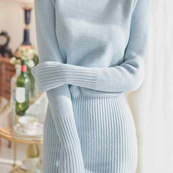 Blue Turtle Neck Long Sleeve Knitted Dress