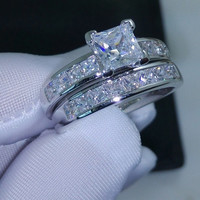 Valueable Princess Cut Topaz Cz 10KT White Gold Filled Wedding Ring = 1932531716